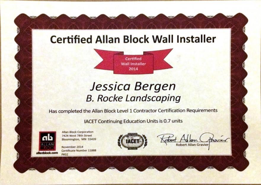 Jessica Certified | B. Rocke Landscaping | Winnipeg, Manitoba