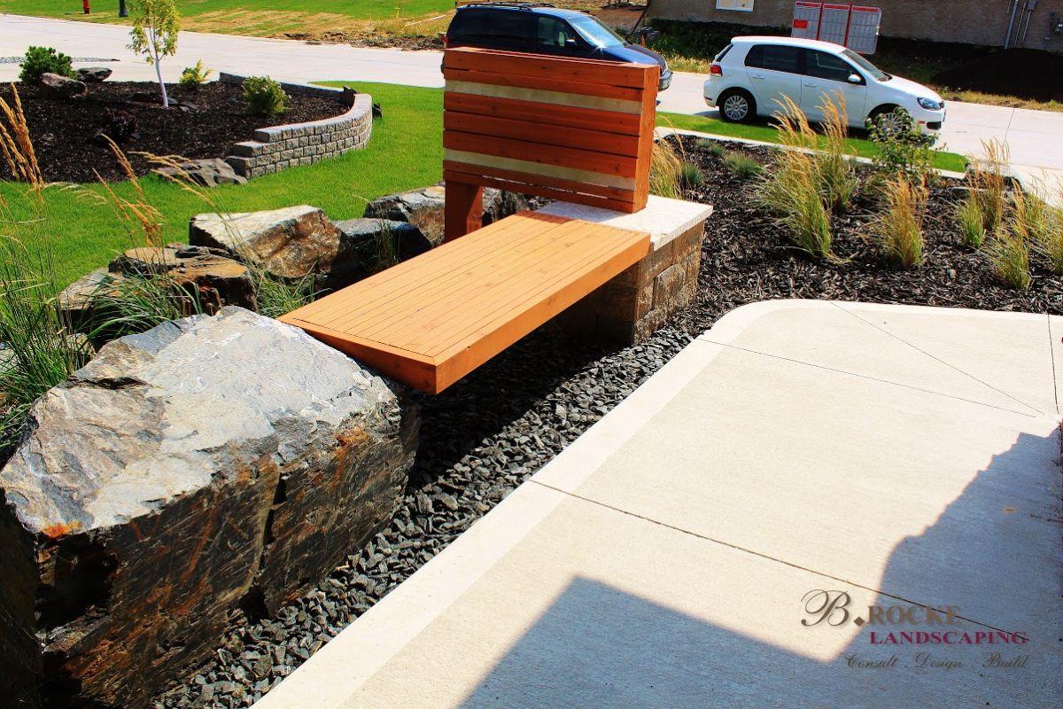 Wooden Bench & Screen | B. Rocke Landscaping | Winnipeg, Manitoba