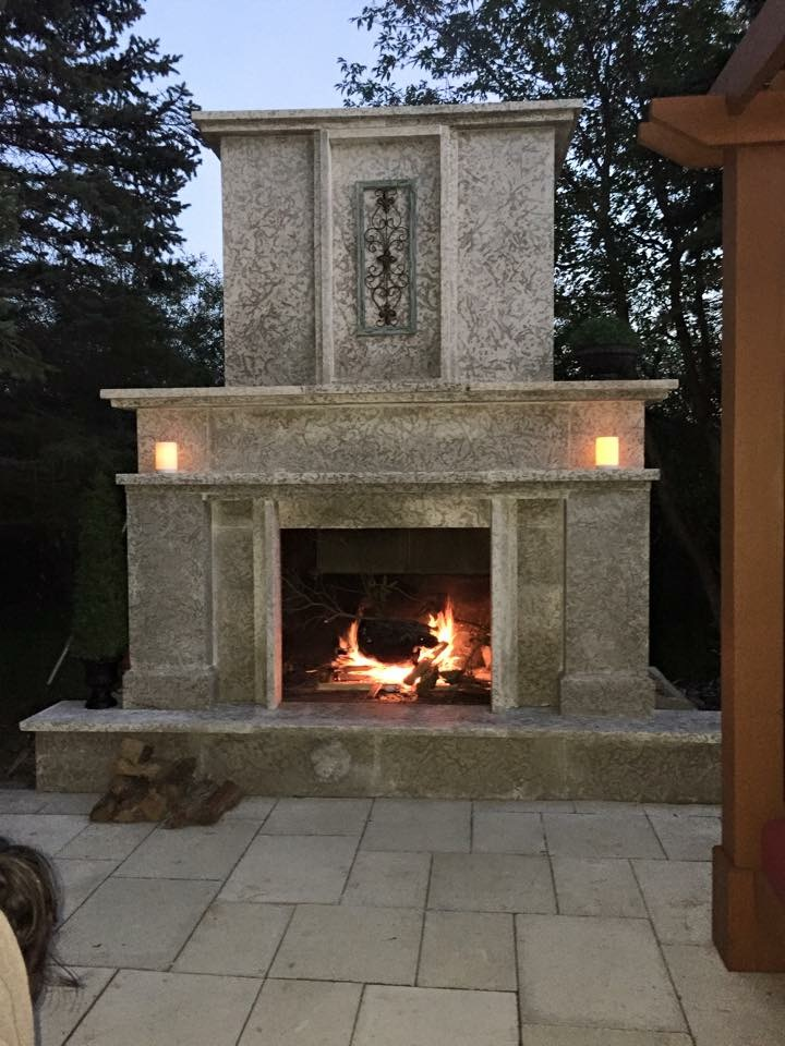 Custom Tyndall Fireplace 1 | B. Rocke Landscaping | Winnipeg, Manitoba