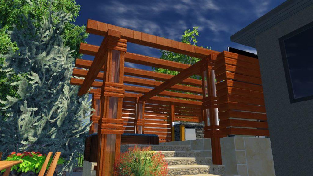 Virtual Custom Cedar Pergola | B. Rocke Landscaping | Winnipeg, Manitoba